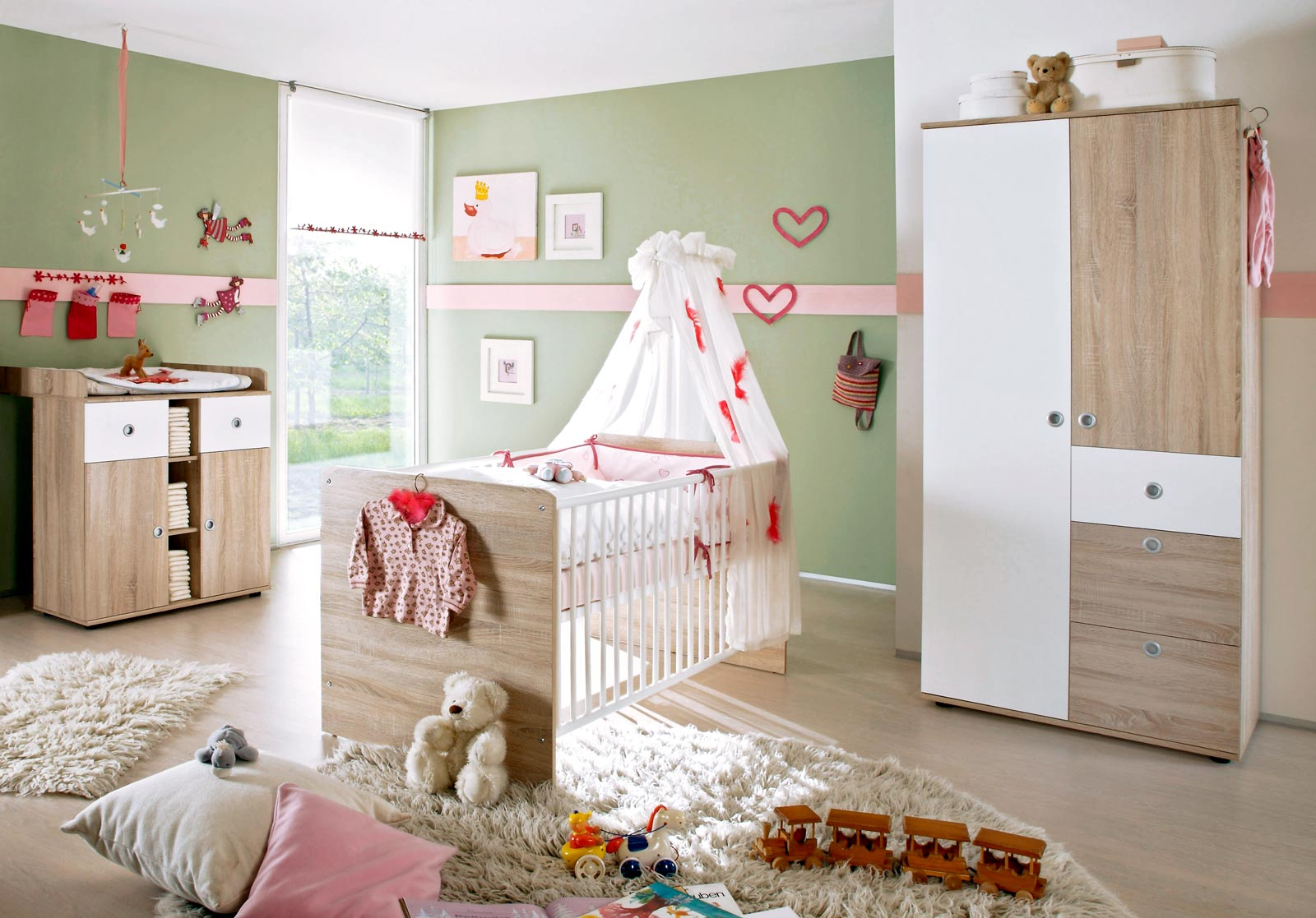 babyzimmer kinderzimmer wiki 1 in eiche sonoma weiss. Black Bedroom Furniture Sets. Home Design Ideas