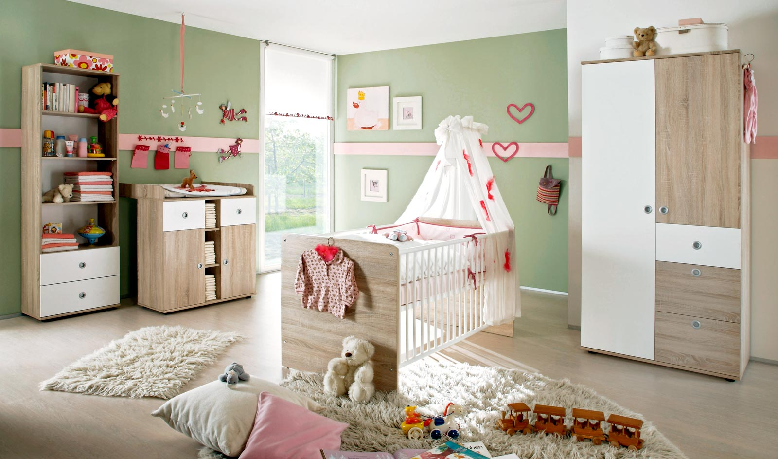 babyzimmer kinderzimmer wiki 3 in eiche sonoma wei. Black Bedroom Furniture Sets. Home Design Ideas