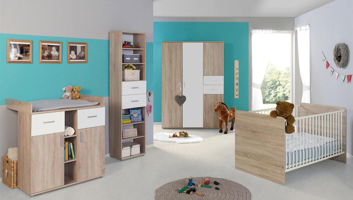 kinderzimmer babyzimmer elisa 4 in eiche sonoma wei moebel dich. Black Bedroom Furniture Sets. Home Design Ideas