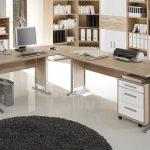 Winkelschreibtisch OFFICE LINE in Eiche Sonoma / weiß glanz