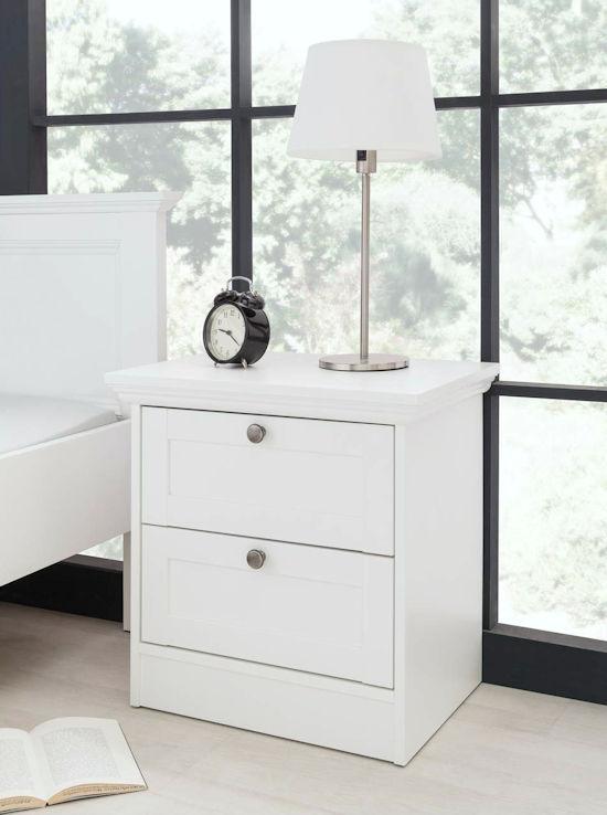 nachtkonsole nachtschrank nachttisch stockholm landhaus in wei. Black Bedroom Furniture Sets. Home Design Ideas