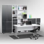 Arbeitszimmer SYSTEM in Icy-weiß / grau hochglanz