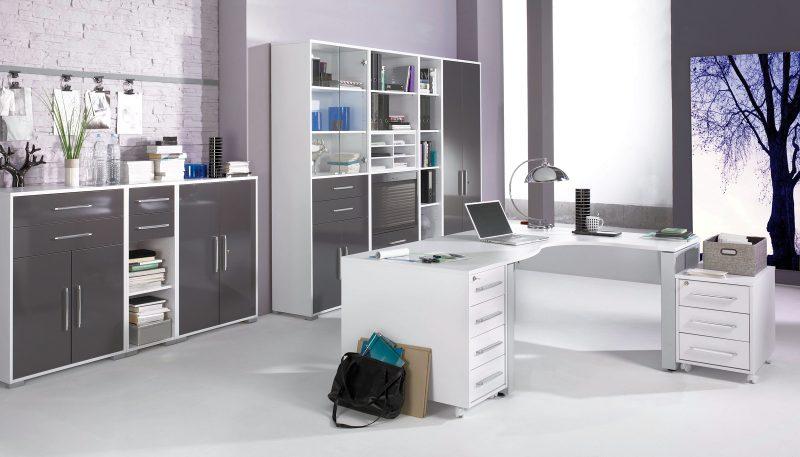 Büromöbel MAJA SYSTEM Büro MAJA Möbel SYSTEM 1206 icy-weiß / grau hochglanz