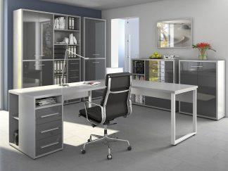 Arbeitszimmer Büro Büromöbel MAJA Möbel SET+ in Platingrau / Grauglas (SET 8)