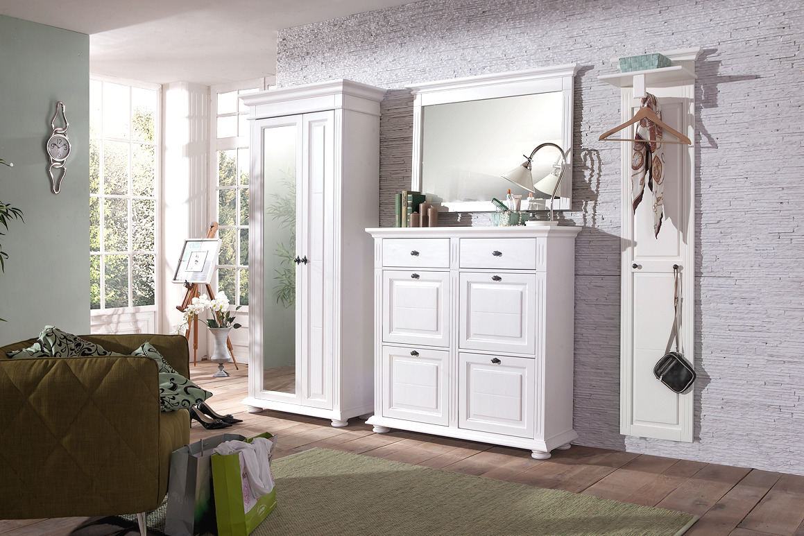 garderobe garderobenset leona landhaus wei massivholz echtholz. Black Bedroom Furniture Sets. Home Design Ideas