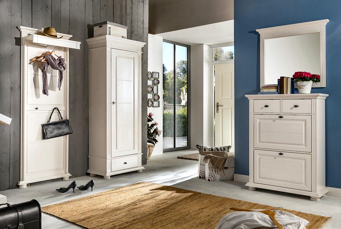 garderobenset landhaus garderobe leona naturwei lasiert massivholzmoebel dich. Black Bedroom Furniture Sets. Home Design Ideas