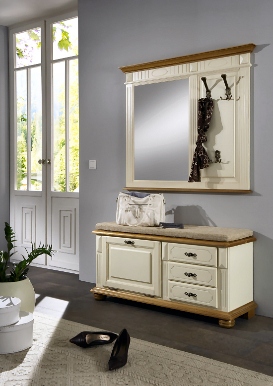 garderobe kompaktgarderobe lugano 3 elfenbeinfarbig lackiert. Black Bedroom Furniture Sets. Home Design Ideas