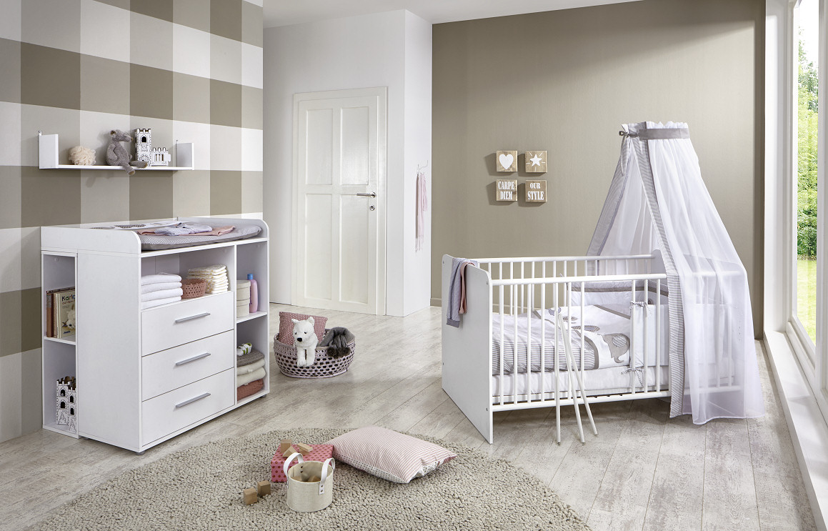 babyzimmer kinderzimmer kim 6 in wei. Black Bedroom Furniture Sets. Home Design Ideas