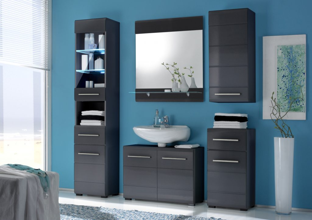 badm belset chrome in grau metallic hochglanzmoebel dich. Black Bedroom Furniture Sets. Home Design Ideas