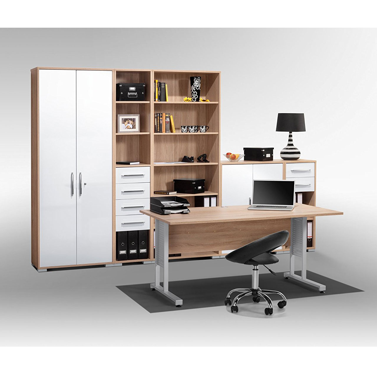 maja b roprogramm system 1200 sonoma eiche wei hochglanz. Black Bedroom Furniture Sets. Home Design Ideas