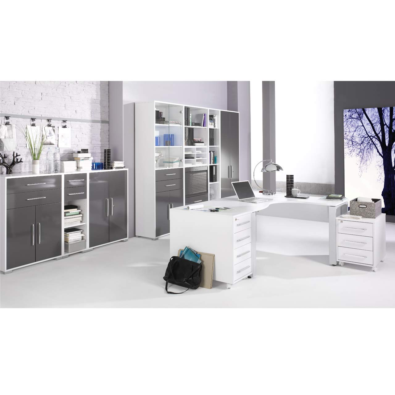 maja b roprogramm system 1206 icy wei grau hochglanzm bel g nstig preiswert hochwertig. Black Bedroom Furniture Sets. Home Design Ideas