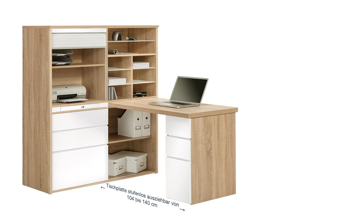 kleinb ro minioffice maja 9565 in eiche sonoma wei hochglanzmoebel dich. Black Bedroom Furniture Sets. Home Design Ideas