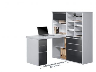 MAJA Minioffice 9565 icy weiß / grau Hochglanz