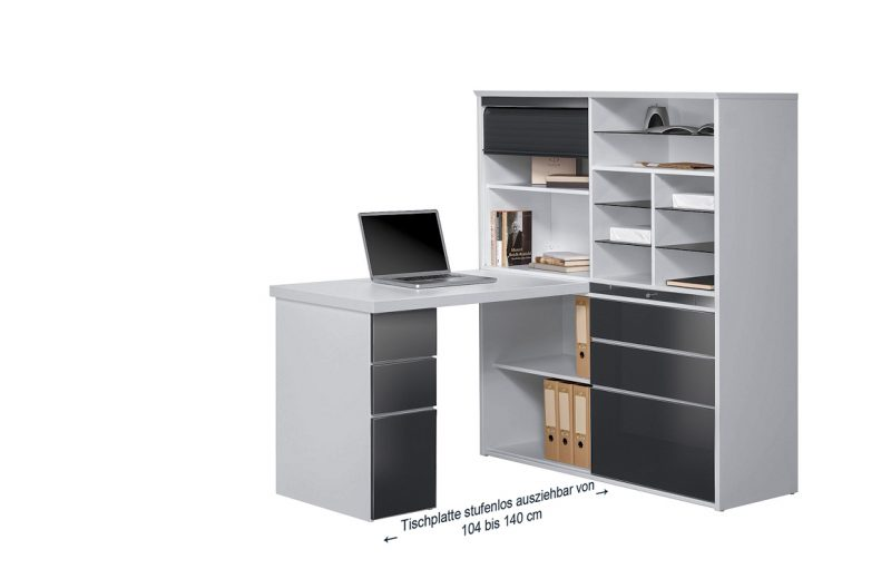 kleinb ro minioffice maja 9565 icy wei grau hochglanzmoebel dich. Black Bedroom Furniture Sets. Home Design Ideas