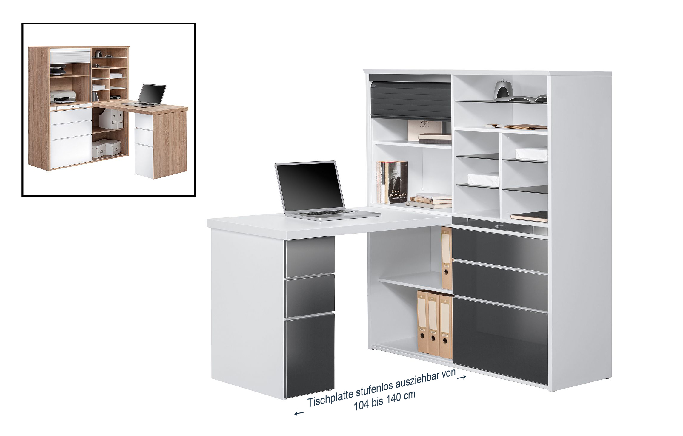 minioffice maja 9565 icy wei grau hochglanz. Black Bedroom Furniture Sets. Home Design Ideas