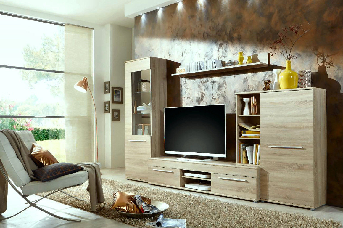 wohnwand cannes in eiche sonoma inkl led beleuchtung. Black Bedroom Furniture Sets. Home Design Ideas