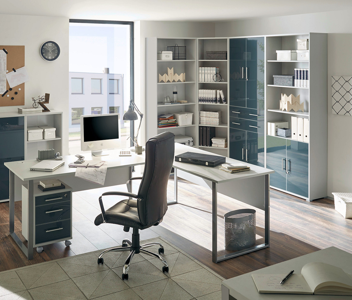 arbeitszimmer b rom bel office lux in lichtgrau glas graphit lackmoebel dich. Black Bedroom Furniture Sets. Home Design Ideas