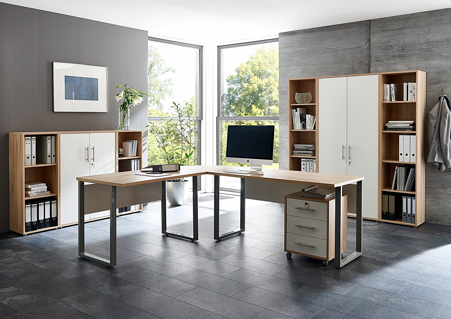 arbeitszimmer office edition in eiche sonoma wei set 5 moebel dich. Black Bedroom Furniture Sets. Home Design Ideas