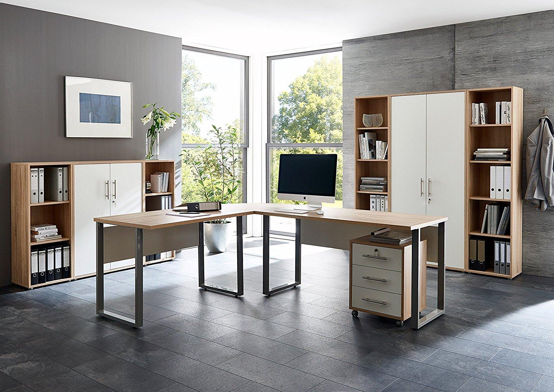 arbeitszimmer office edition in eiche sonoma wei set 5 moebel dich. Black Bedroom Furniture Sets. Home Design Ideas