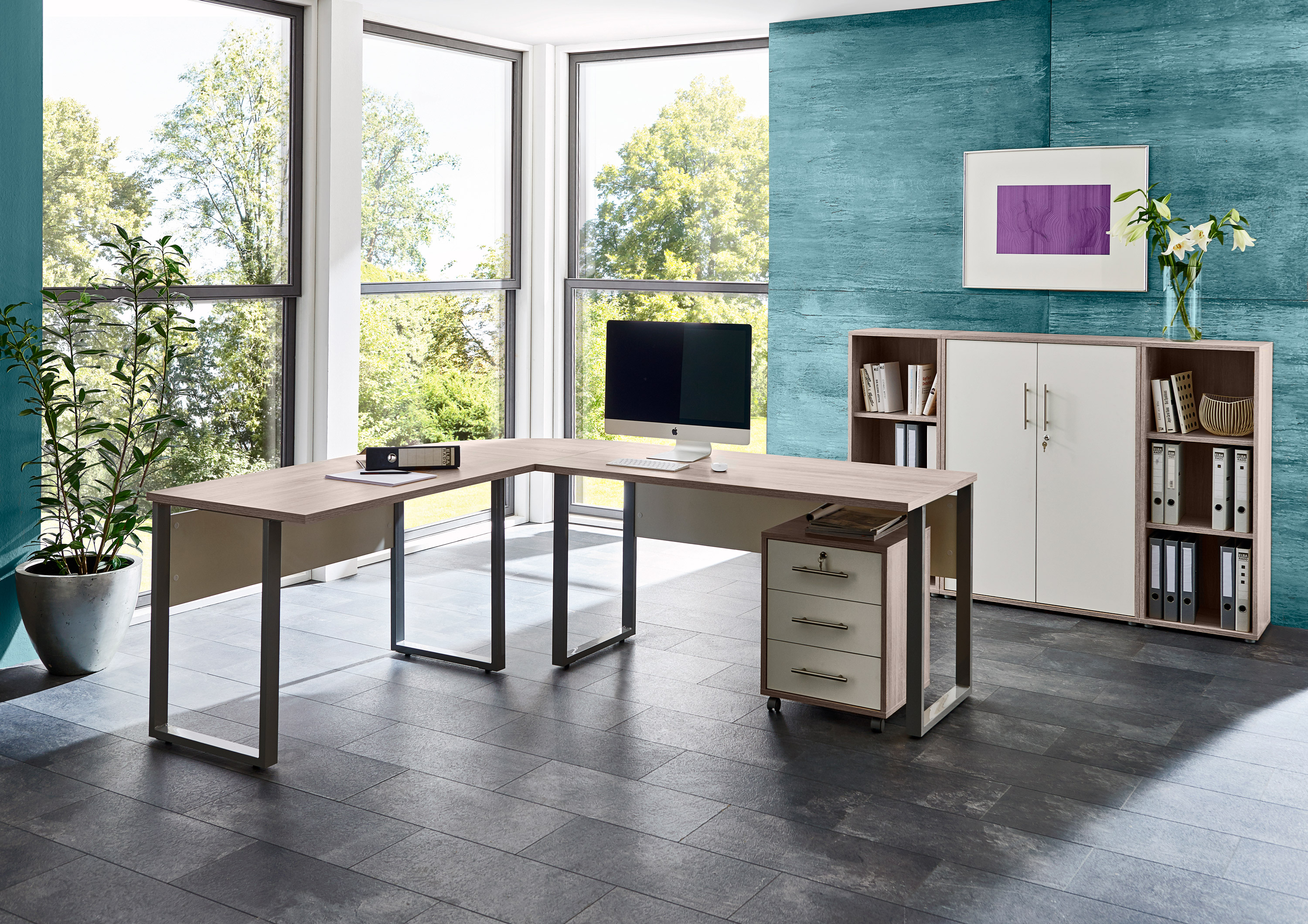 arbeitszimmer b ro office edition in sandeiche wei set 2. Black Bedroom Furniture Sets. Home Design Ideas