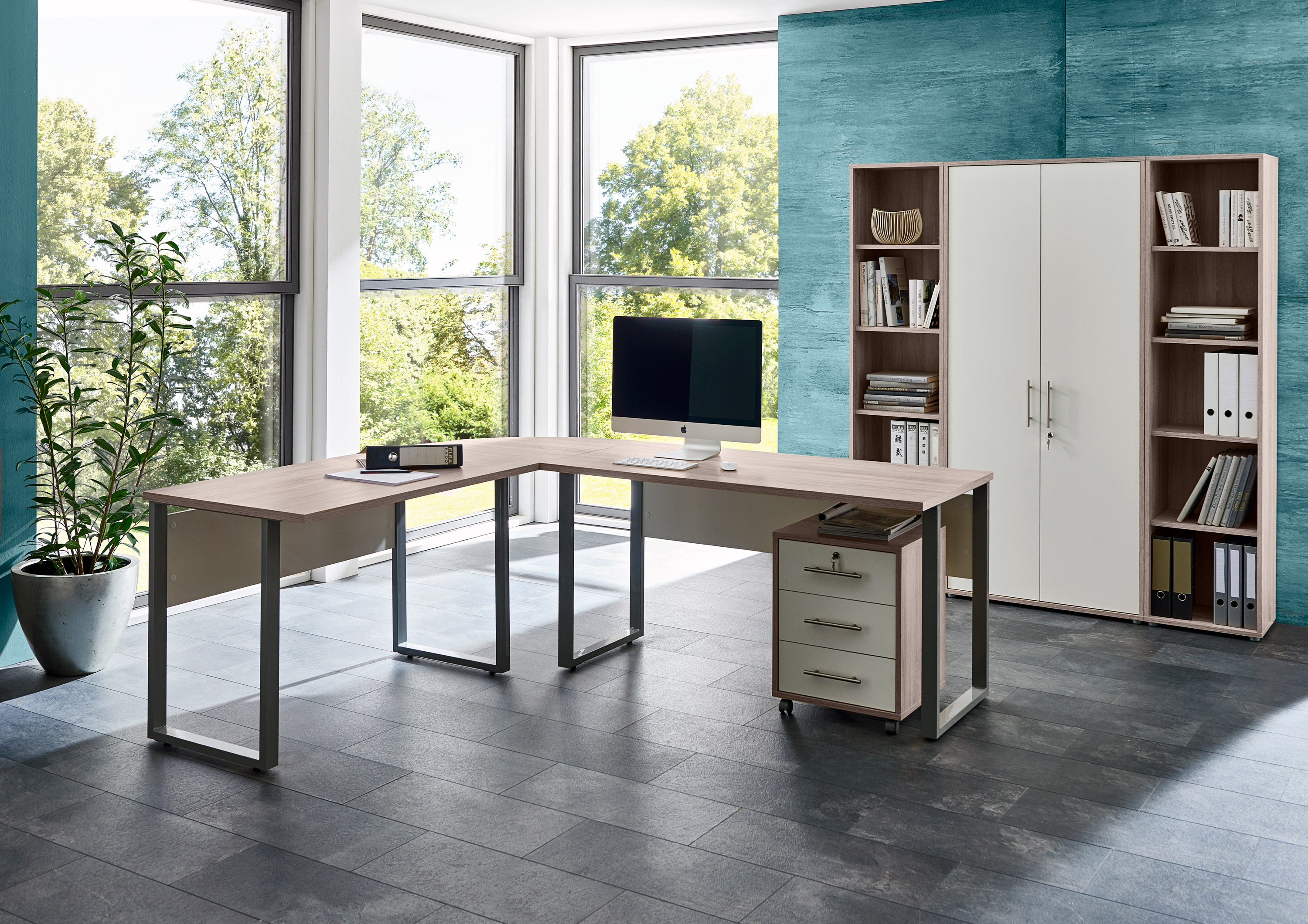 arbeitszimmer b ro office edition in sandeiche wei set 3 moebel dich. Black Bedroom Furniture Sets. Home Design Ideas
