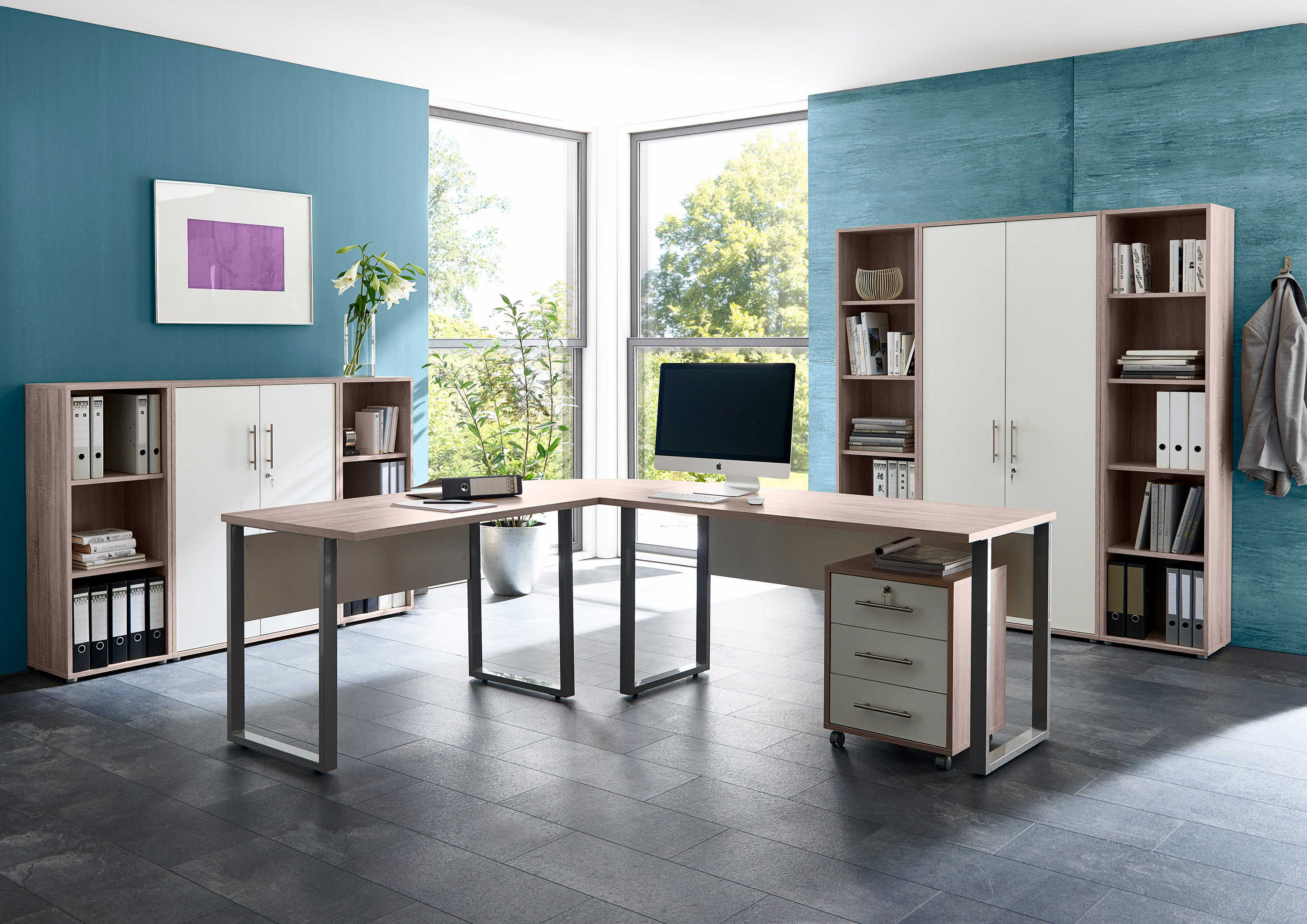 arbeitszimmer b ro office edition in sandeiche wei set 5 moebel dich. Black Bedroom Furniture Sets. Home Design Ideas