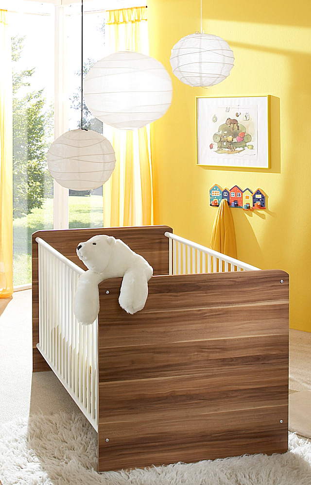 kinderbett bett bettchen babybett wiki in walnuss wei. Black Bedroom Furniture Sets. Home Design Ideas