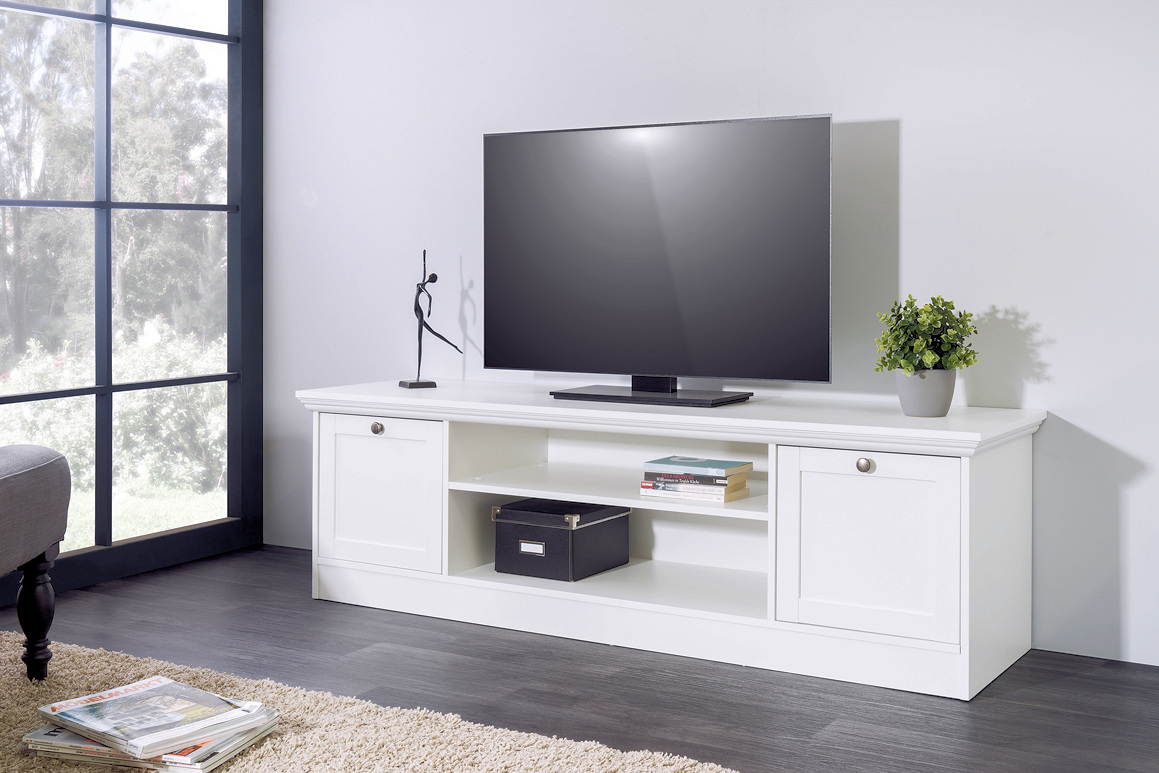 tv element tv board lowboard stockholm landhaus in wei moebel dich. Black Bedroom Furniture Sets. Home Design Ideas