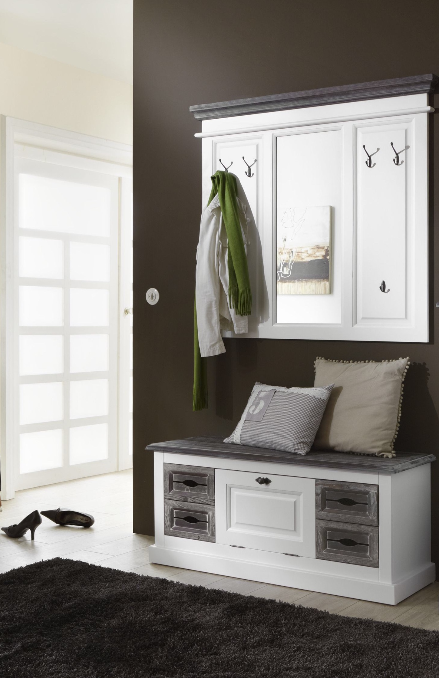 garderobe garderobenset cabana 3 im vintage look teilmassiv. Black Bedroom Furniture Sets. Home Design Ideas