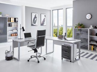 Arbeitszimmer TABOR PRO 1 in lichtgrau / anthrazit Hochglanz