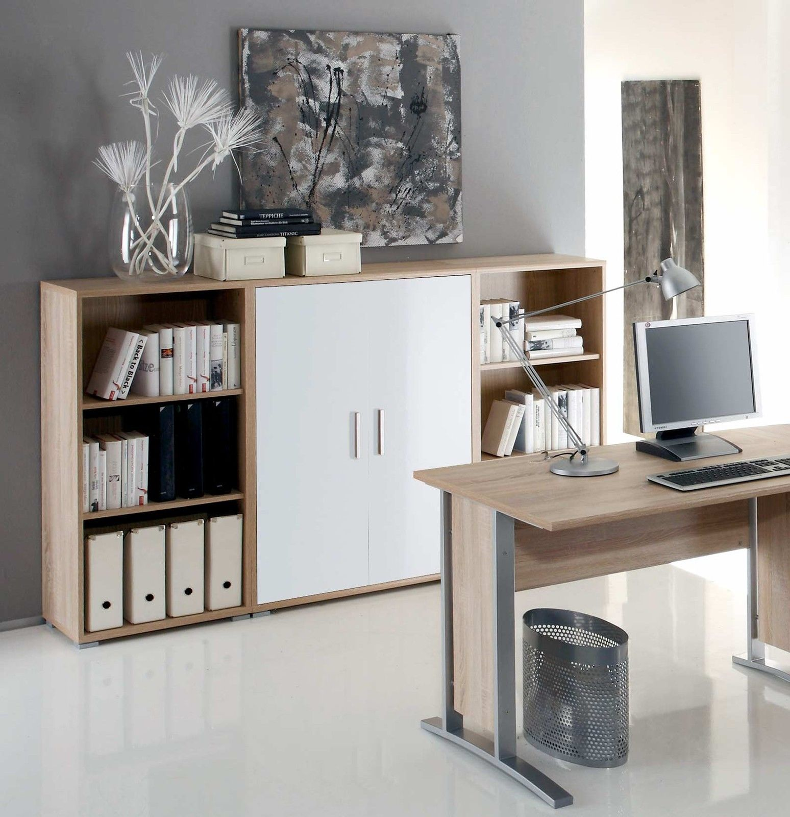 highboard office line in eiche sonoma wei glanzmoebel dich. Black Bedroom Furniture Sets. Home Design Ideas