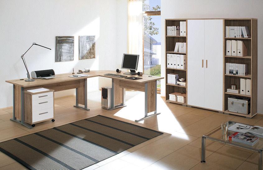 7 tlg arbeitszimmer office line in eiche sonoma weissmoebel dich. Black Bedroom Furniture Sets. Home Design Ideas