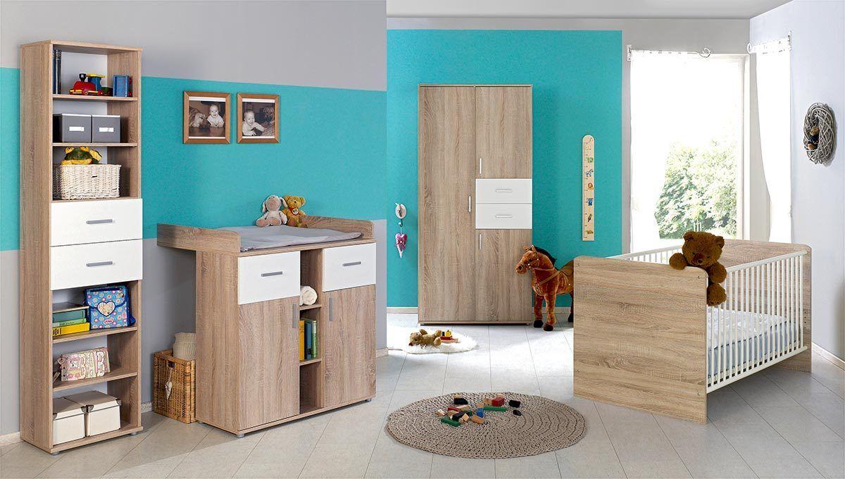 babyzimmer elisa 2 in eiche sonoma weissmoebel dich. Black Bedroom Furniture Sets. Home Design Ideas