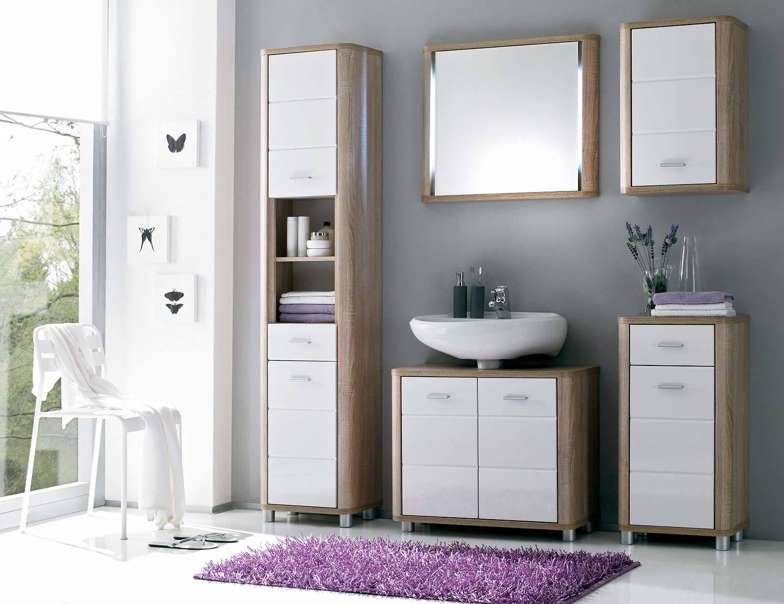 5 tlg badblock vital in eiche sonoma wei glanz. Black Bedroom Furniture Sets. Home Design Ideas