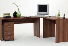Schreibtisch TILL mit Rollcontaine FREDDY in Zwetschge