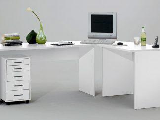 Schreibtisch TILL mit Rollcontainer in weiß
