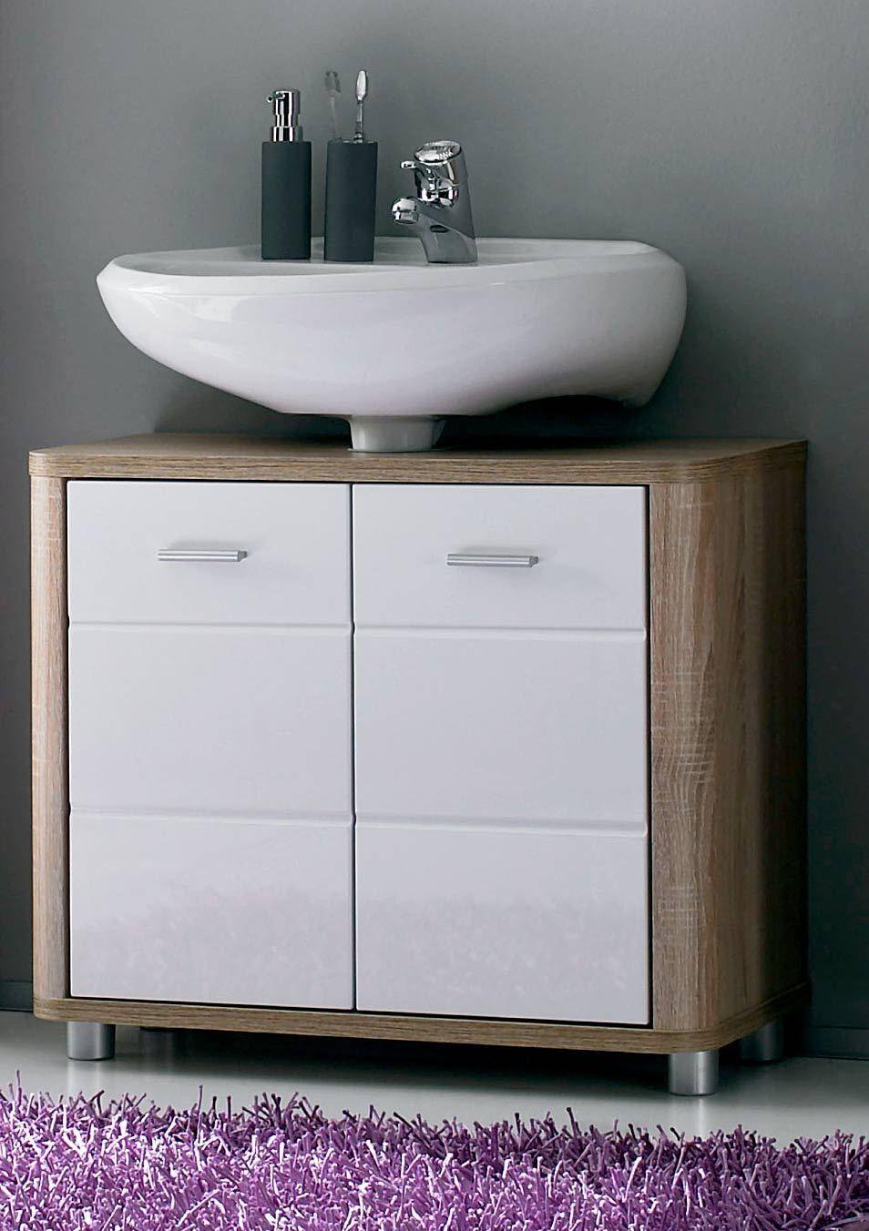 Waschbeckenunterschrank VITAL in Eiche Sonoma / weiß glanz